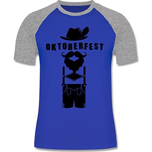 Oktoberfest Herren - Hipster Bayer Oktoberfest - zweifarbiges Baseballshirt für Männer Royalblau/Grau meliert