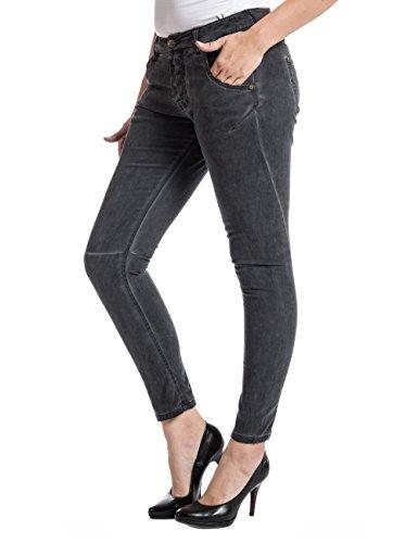 Timezone Damen Slim Hose RivaTZ fashion pants Schwarz (cold dye anthra 9036)