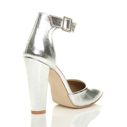 99bfa36ae0d61 ... Argent Pointure Large Haute Boucle Lanière Talon Pointu Métallique Femmes  Escarpins Ajvani Chaussures Z6qAwvW ...