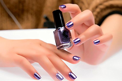 6 Colors Mirror Metallic Nail Polish Effect,Mingfa.y Nail Art Chrome Effect Nail Spell Additive Effect Pigment (Purple)