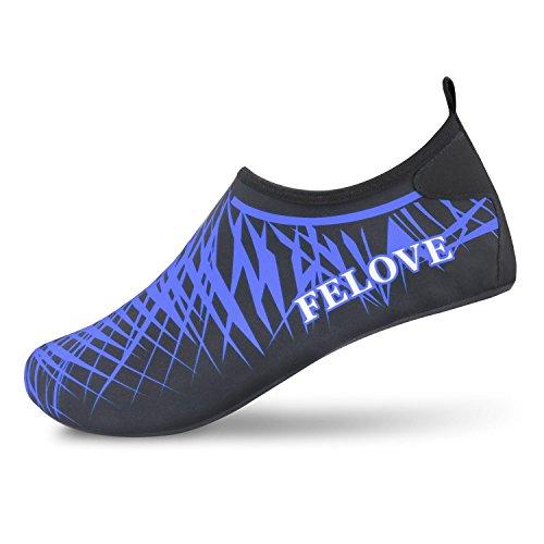 Scarpe da scoglio, da surf, da immersione, da spiaggia, da corsa, scarpe da snorkeling, scarpe barefoot, pantofole da casa, scarpe da yoga per uomini e donne, scarpe da mare con suole in spugna neopre (f-blu, 3xl: eur 44-45)