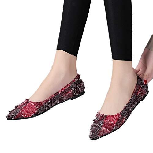 Tianwlio Frauen Herbst Winter Stiefel Schuhe Stiefeletten Boots Damen Mode Flacher Mund Schlüpfen Schuhe Flach mit Spitzen Zehen Spitzen Wein 37