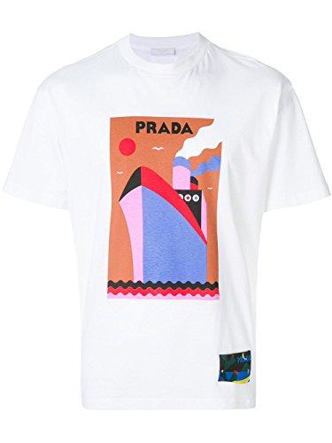 Prada Herren Ujn3991qgff0009 Weiss Baumwolle T-Shirt (Prada Herren Shirt)