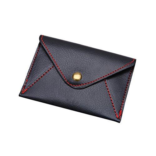 osmanthusFrag Unisex Mini Coin Concise Matte Ultradünne Umschlag Karte Tasche Kunstleder Black