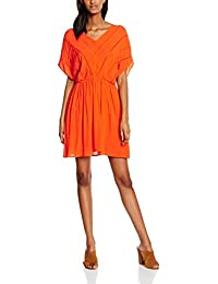 VERO MODA Damen Kleid Vmcrinkla S/S Short Dress, Orange, 34 (Herstellergröße: XS)