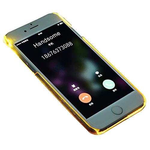 "Yihya Hülle für Apple iPhone 6/6s 4.7"",Creative Light Up LED Incoming Call Flash Etui Schutz Schutzhülle Ultra Dünn Transparent Clear PC Hard Back Protective Case Cover--Blau Gelb"