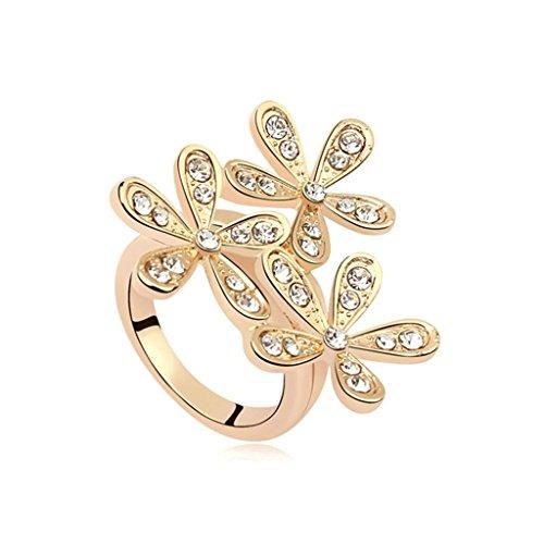 AieniD Anelli Donna Matrimonio Placcato Oro Fiore Zirconia Cubica Fidanzamento Anelli per Donne Misura 13