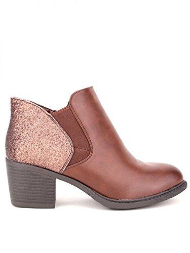 Cendriyon, Bottine Marron SELMANA Chaussures Femme Marron
