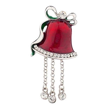 LUX Zubehör Weihnachten Kirche Bell Pin Brosche Rot baumelnden Strass