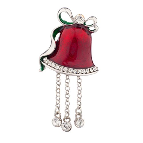 LUX Zubehör Weihnachten Kirche Bell Pin Brosche Rot baumelnden Strass (Tank Großhandel Strass Tops)