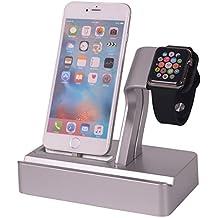 TopSun Ultralight Apple Products Pulsera 4 en 1, Apple Watch Stand, iPhone Soporte de carga, Soporte de base ABS para Apple Watch & Docking Station Soporte de horquilla para iPod iPhone iPad y otros teléfonos Tablets