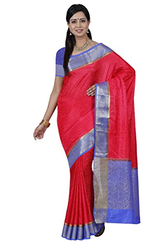 Mimosa By Kupinda Women's Tusser Silk Saree Kanjivaram Style Color :Straberry (3397-2073-STRW-RBLU)  available at amazon for Rs.1119