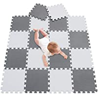 meiqicool Soft Play Mats for Kids Pure Colour EVA Foam Mats Flooring Jiasaw Puzzle Mats (18pcs, Gery and White) 101112
