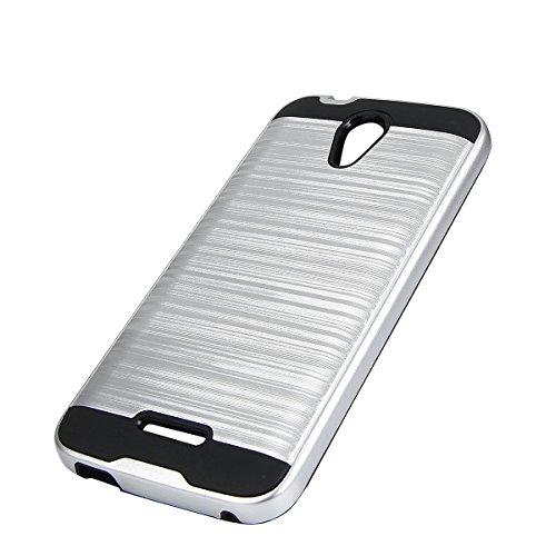 EGO® Hard Case Schutz Hülle für ZTE Blade A310, Silber Metallic Effect Aluminium Brushed Handy Cover Schale Bumper Etui Top-Qualität Silber