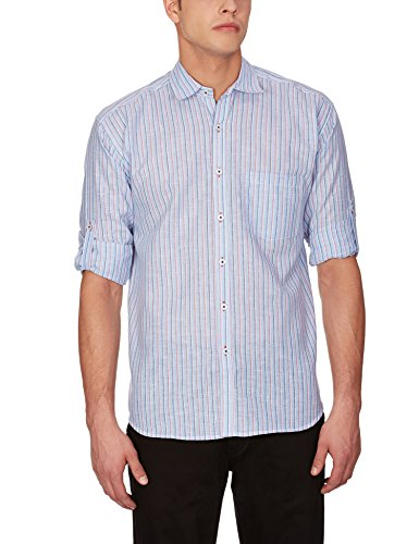 Blue Fire Men's Striped Full Sleeve Slim Fit Poly Cotton Casual Shirt (BF10020144)  available at amazon for Rs.349