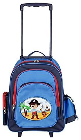 Aminata Kids – Exklusiver Kinder-Trolley für Jungen mit Piraten | Handgepäck-Koffer á 45x43x19 cm | verstellbarer Griff + 2 Rollen + 5 Fächer | Kindergartentasche in Blau & Rot | Reisetasche Seeräuber