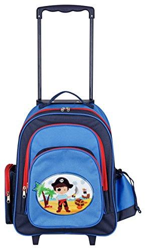 Aminata Kids – Exklusiver Kinder-Trolley für Jungen mit Piraten | Handgepäck-Koffer á 45x43x19 cm | verstellbarer Griff + 2 Rollen + 5 Fächer | Kindergartentasche in Blau & Rot | (Pirat Jungen)