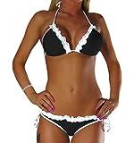 ALZORA Neckholder Damen Bikini Set Top und Hose mit Spitze, 10231 (XS, Schwarz)