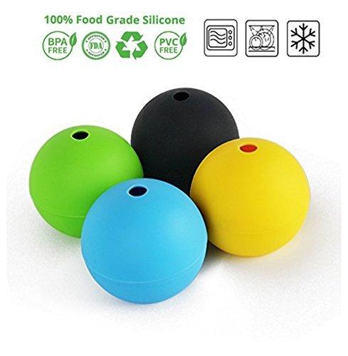 SIMINLIU 7 cm Durchmesser XXL-Eiswürfelform für 4 Eiskugeln aus Silikon | Silikon-Eiswürfelform, Ice ball Mold, Eiskugel, Eiswürfel, Silikon-Eisformen, Sphere Silikon-Eis-Maker | FDA Zulassung