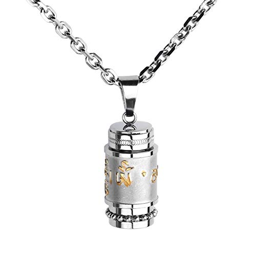 Zysta Edelstahl Memorial Urnen Anhänger Halskette Tibetische Gebetsmühle Kette Gravur mit Om Mani Padme Hum + Trichter füllen Kit (Silber) - Gebetsmühle Tibetische