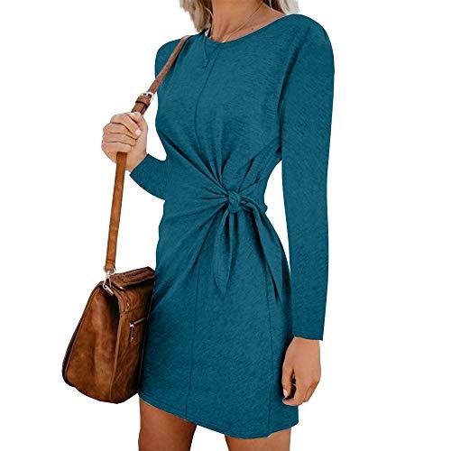 Zegeey Damen Kleid Langarm Rundhals Einfarbig Bogen Silm Party Kleider Basic Kleid BlusenkleidT-Shirtkleid Minikleid AbendkleidCocktailkleider(Himmelblau,EU-36/CN-M) (Best 2019 Women Halloween-kostüme S)