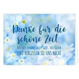Große Abschiedskarte XXL (A4) Vergessen Sie uns nicht - Blaue Blumen mit Umschlag/Edle Design Klappkarte/Rente / Pension/Ruhestand / Verabschiedung/Letzter Arbeitstag/Gruß-Karte für Kollegen