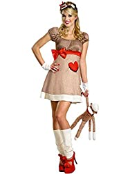 Disguise Womens Deluxe Miss Sock Monkey Fancy dress costume by Disguise