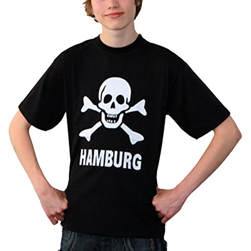 Brubaker Damen oder Herren T-Shirt 'Skull & Bones' Shirt Schwarz-Weiß