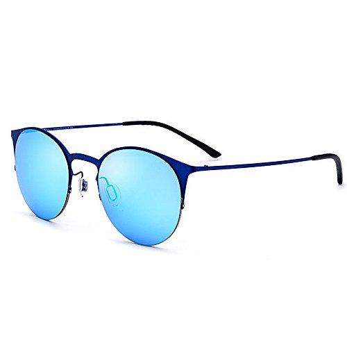 Wxx000 Sonnenbrillen für Frauen, Cat Eye Polarized Half Frame, Outdoor Driving Fishing UV400 Schutz (Color : Blue)