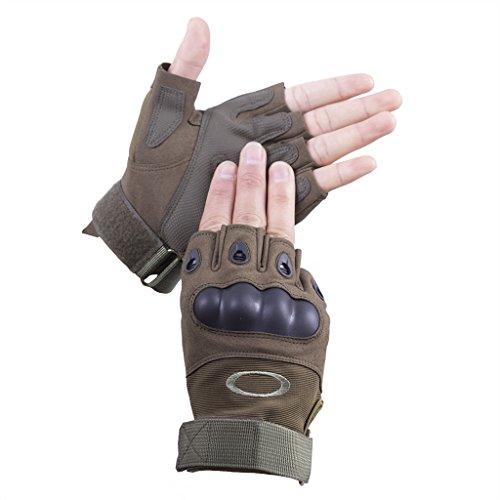Brudergo Herren Taktische Handschuhe fingerlos Handschuhe Fahrradhandschuhe Motorrad Handschuhe outdoor sport Handschuhe Fitness Handschuhe Army Gloves Ideal für Airsoft, Militär,Paintball,Airsoft, Jagd(Grün,L)