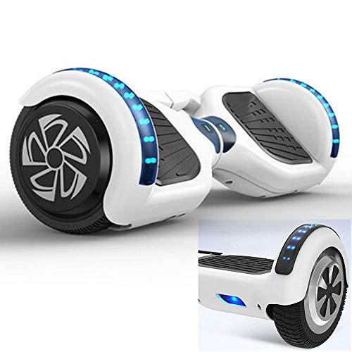 """DAETNG Hoverboard 6,5\""""Zoll, Elektro-Smart mit LED-Leuchten Selbstausgleichender Zweirad-Roller Mit Griff Keine Bluetooth-Lautsprecher, Super-Geschenke für Kinder und Erwachsene,White"""
