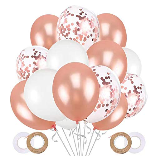 JOJOR 60 Stück Luftballons Rose Gold Konfetti Helium Ballons für Hochzeit Verlobung Valentinstag Mädchen Kinder Geburtstag Taufe Kommunion Party Deko