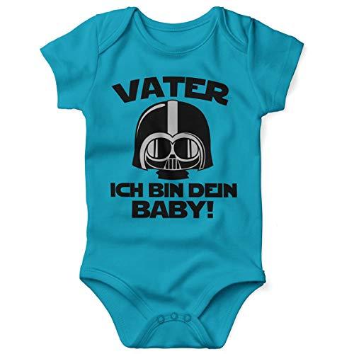Mikalino Babybody mit Spruch für Jungen Mädchen Unisex Kurzarm Vater - ich Bin Dein Baby! | handbedruckt in Deutschland | Handmade with Love, Farbe:Atoll, Grösse:62
