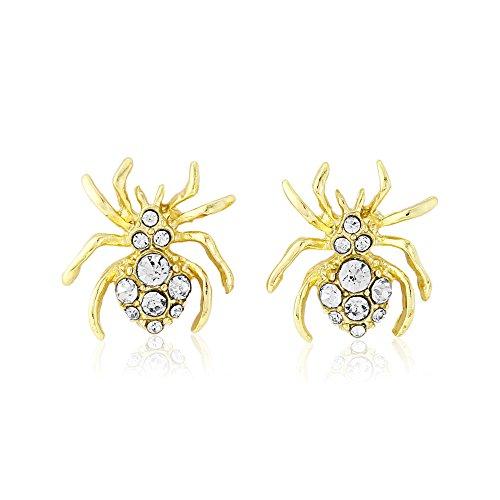 Halloween-Ohrringe - glitzernde goldfarbene Spinne Ohrringe für Frauen und Mädchen - inklusive Geschenkbeutel