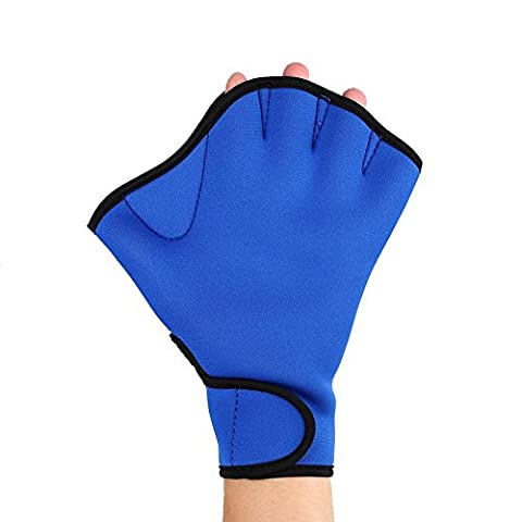 Efanr 1 Pair Training Aqua Fit Swim Webbed Gloves Aquatic Fitness Water Resistance Gloves for Women Men Children (Blue, M)