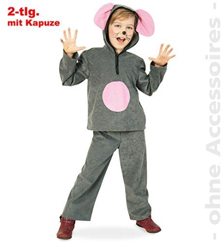 Und Käse Maus Kostüm - Maus Charly, Oberteil mit Kapuze + Hose Größe 140