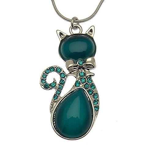 Acosta Vibrant chat Turquoise pierre oeil de chat &Cristal Swarovski (Ton Argent)-Livré dans un coffret cadeau