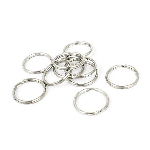 Metal Split Loop Key Rings 30mm OD 10 Pcs Silver Tone