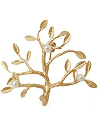 Miss Lovie Damen Lebensbaum Blatt Natur Brosche aus echten Süsswasserperlen Gold