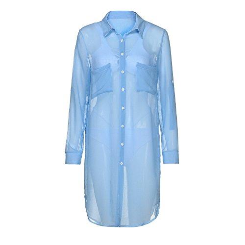 JMETRIC_Strandbluse Lange Ärmel Sommer Boho Chiffon Kimono Stil Gedruckt Tops Jacke Cardigan Blusen Beachwear (Blau,S)