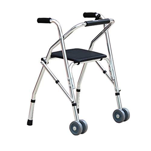 CLYZQX Älterer Spaziergänger, Faltender Rehabilitationsgehender, 2 Rollenkissen-Hilfswanderer, Mehrfarbig Optional (Farbe : Silber)