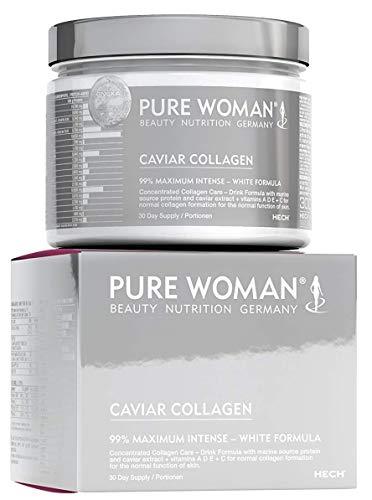 PURE WOMAN Caviar Collagen, hochdosiertes marines Kollagen-Pulver zum Trinken, für gesunde Haut, Haare, Nägel, Knochen und Gelenke, mit Protein, Vitamin A, D, C & E, 300 g