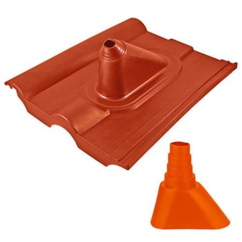 HB-DIGITAL Universal Dachpfanne Ziegel-Rot ➕ Gummimanschette Orange | für Rohren mit 32-60 mm Durchmesser Mastmanschette Mastabdichtung Manschette Abdichtung Frankfurter Pfanne Dachabdeckung