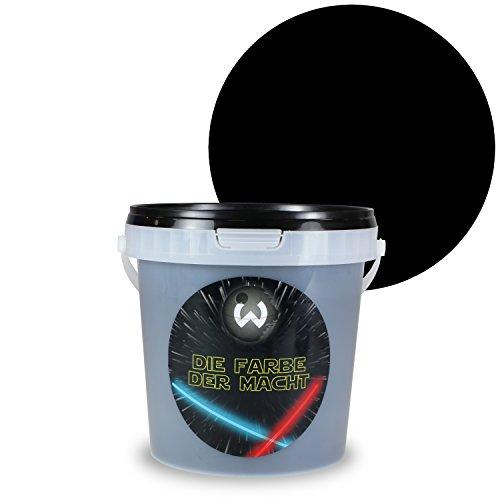 Wanders24 Die Farbe der Macht (1 Liter, Galaxieschwarz) Wandfarbe, Effekt Farbe, Wandfarbe innen, Wand-Farbe, Galaxie, schwarz, dunkel, matt, Effektfarbe, Untergrundfarbe für die Farbe der Macht