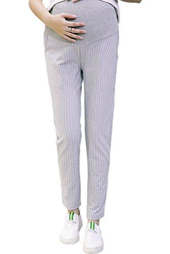 BOZEVON Damen Umstandskleidung Sommer Beiläufig Umstandshose Streifen Über Bump Business Schwangerschafts hosen, Hellgrau/2XL