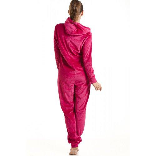 Combinaison pyjama à capuche en velours - motif ange - femme -fuchsia- taille 36 à 50 Rose