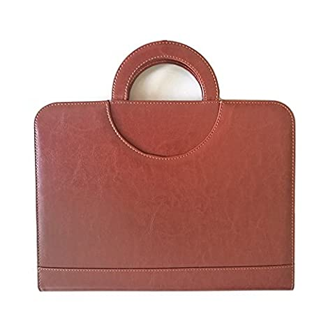 MMLIGHT PU Leather A4 Zipped Folio with Handles Conference Folder
