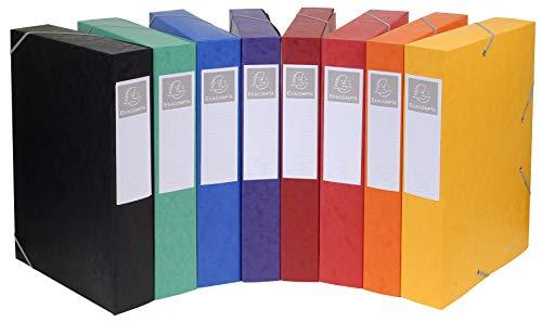 Exacompta 16000H Packung (mit 10 Archivboxen Cartobox, 24 x 32 cm, 60 mm Rücken, mit Gummizug, mit Rückenetikett) farbig sortiert, 10 Stück