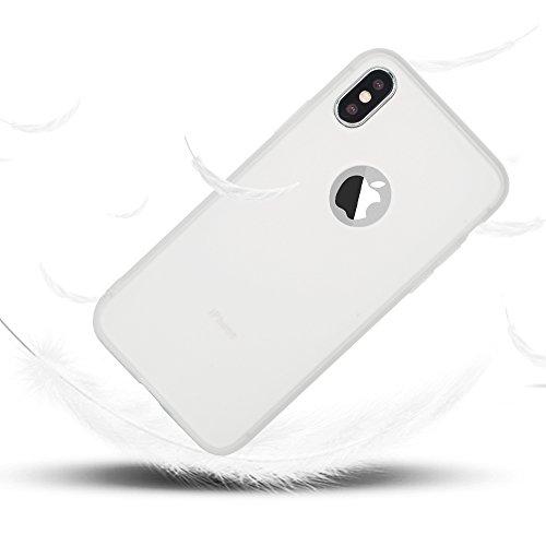 iPhone X Hülle Leton TPU Silikon Handyhüllen für Aplle iPhone X (5.8 pollici) Schwarz Handy Schutzhülle Handytasche Schutz Cover Case Schale Weich Flexible Ultra Dünn Matt Kratzfeste Tasche Verschiede Weiß