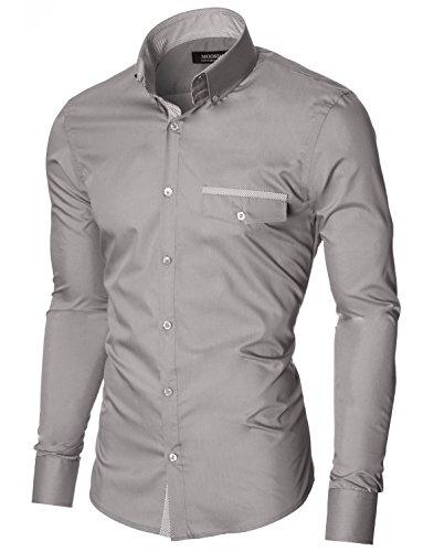 MODERNO Herren Hemd Slim Fit Langarm Button Down Kragen 1 Tasche Streifen Detail (MOD1413LS) MOD1413LS-Grau